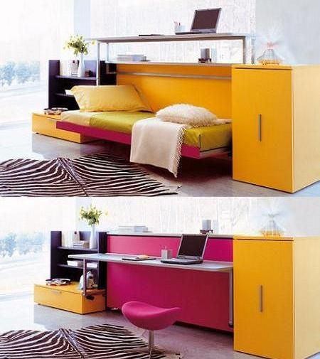 Kids Room Furniture With Folding Study Table And Bed All In One Unit