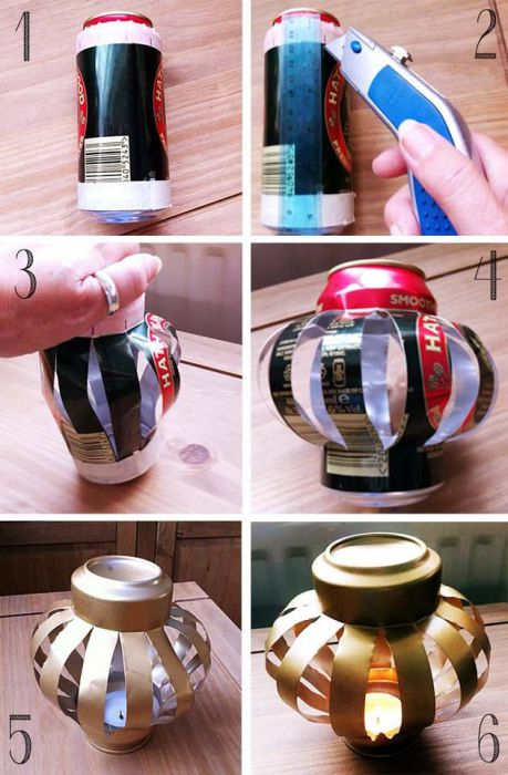 Как сделать из жестяных банок подсвечник