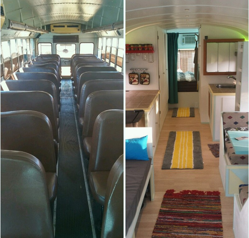 Уютный дом на колесах из старого школьного автобуса