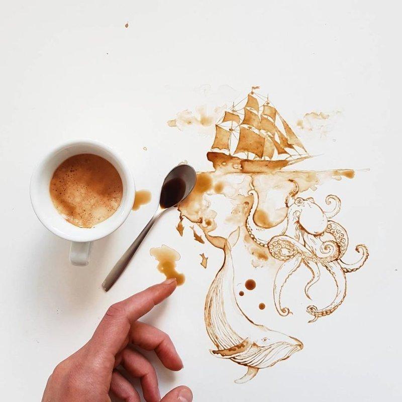 Кофейные рисунки Джулии Бернарделли