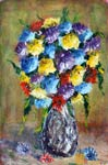Цветочная картина мастихином: БУКЕТ ЯРКИХ ЦВЕТОВ