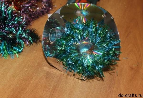 Новогодняя игрушка из сд дисков своими руками
