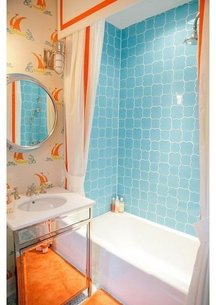 Фото дизайна ванной оранжевой маленького