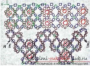 Колье из бисера со схемами плетений.
