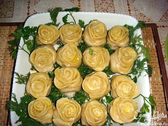 Ленивые пельмени в виде роз - просто и быстро!