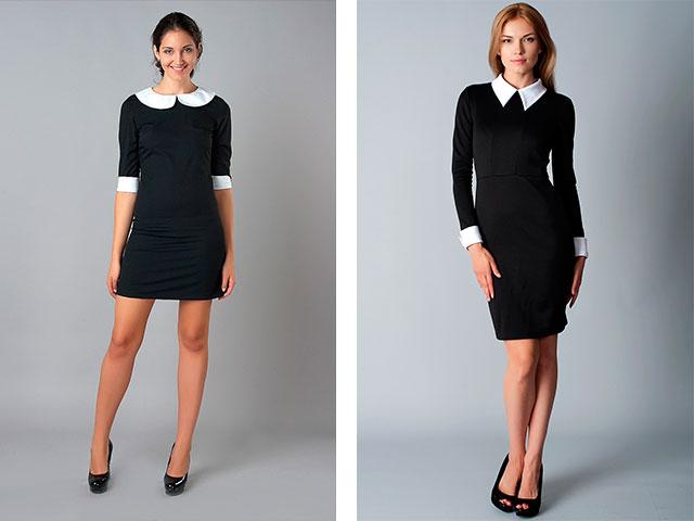 Купить Платье Черное С Белыми Манжетами