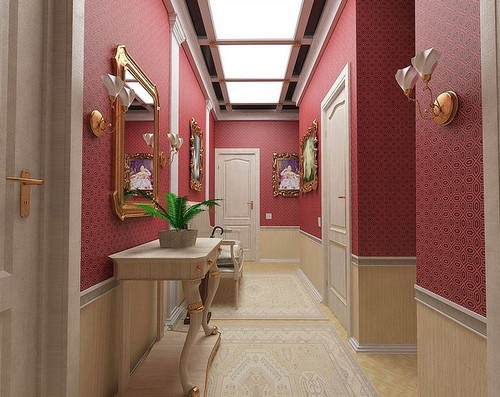 Красные обои в коридор