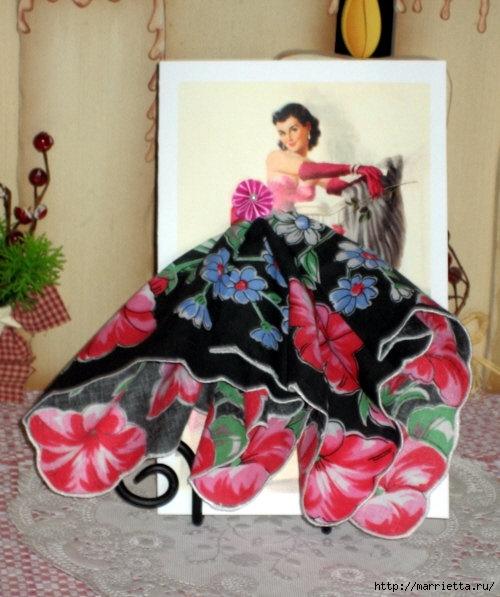 Винтажные открытки с дамами в юбках из носовых платков! (идеи и мастер-класс)