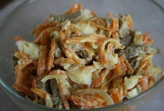 Салат с печенью говяжьей с морковью и луком с