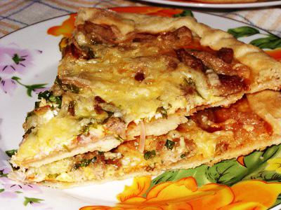 Пирог на кефире с плавлеными сырками