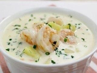 Сырный суп с креветками.