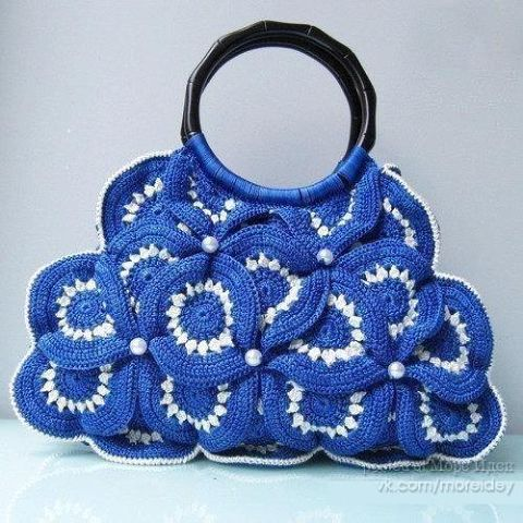 Симпатичные вязаные сумки и описание к ним