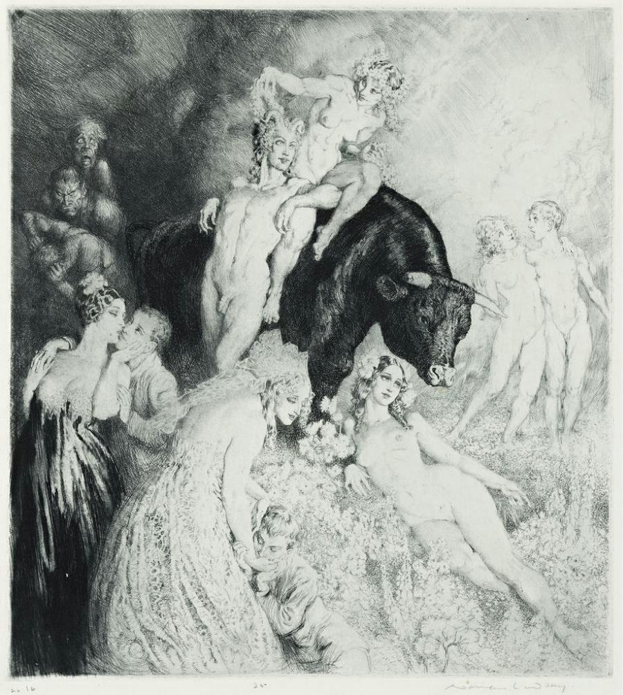 Прелестные нимфы, козлоногие обольстители и демоны в картинах Нормана Линдсея 28