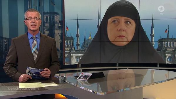 Коллаж с Меркель в хиджабе вызвал скандал в Германии
