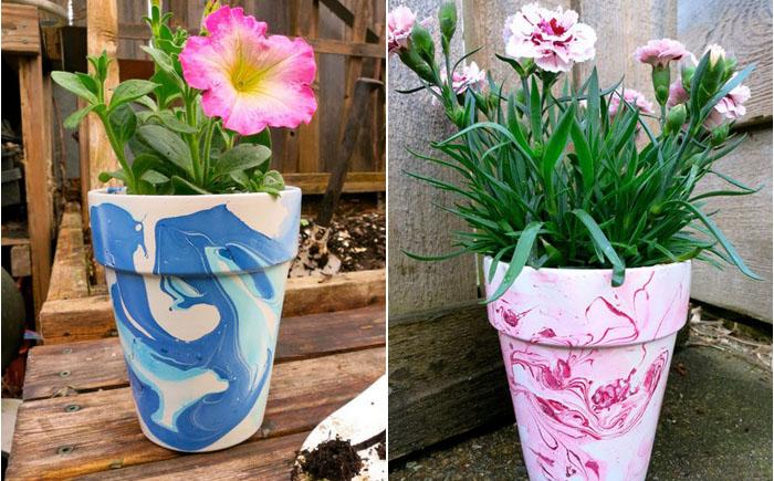 Потрясающие вазоны для цветов, расписанные лаком для ногтей