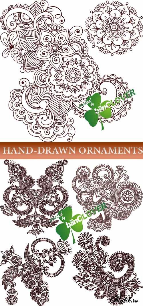Коричневые цветочные орнаменты - вектор. Hand-drawn ornaments