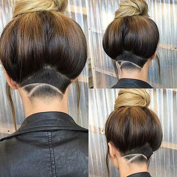 Выбритый затылок женская стрижка