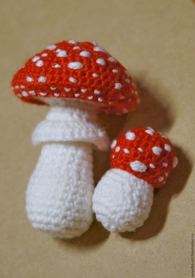 Связать гриб спицами