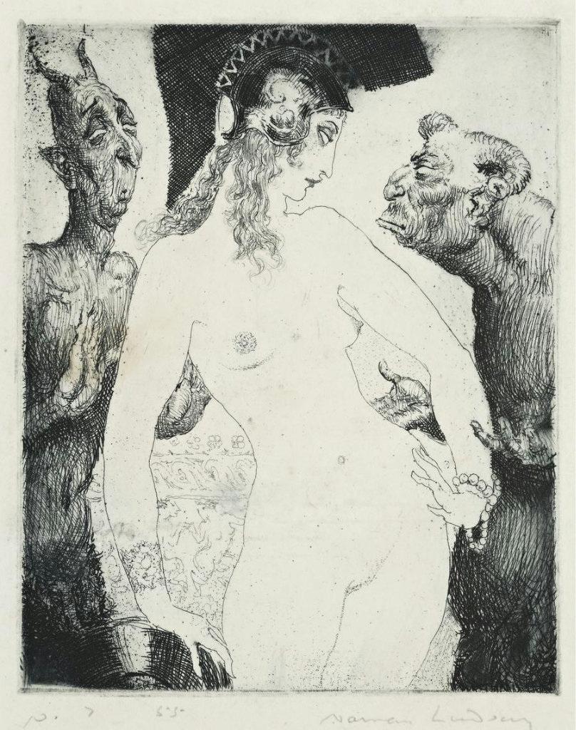 Прелестные нимфы, козлоногие обольстители и демоны в картинах Нормана Линдсея 21