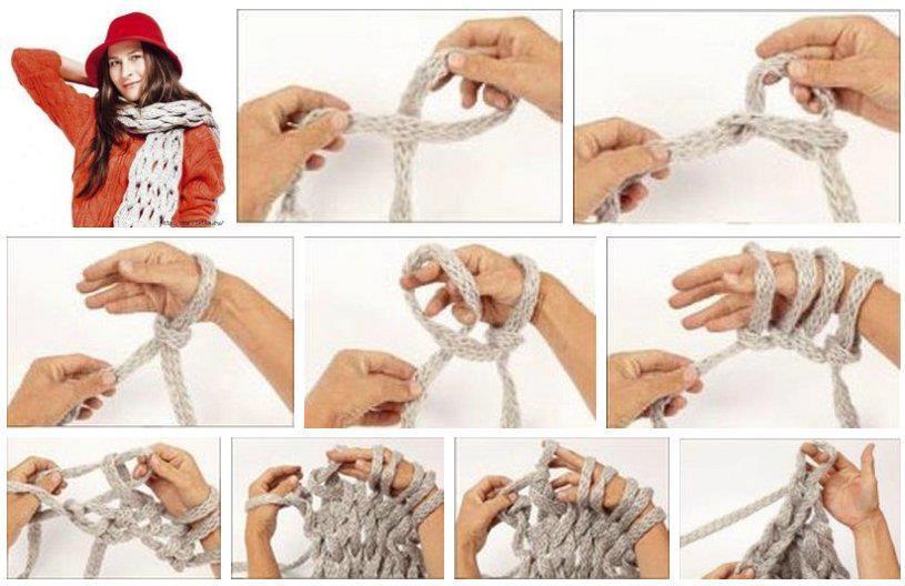 Плетёный шарф руками