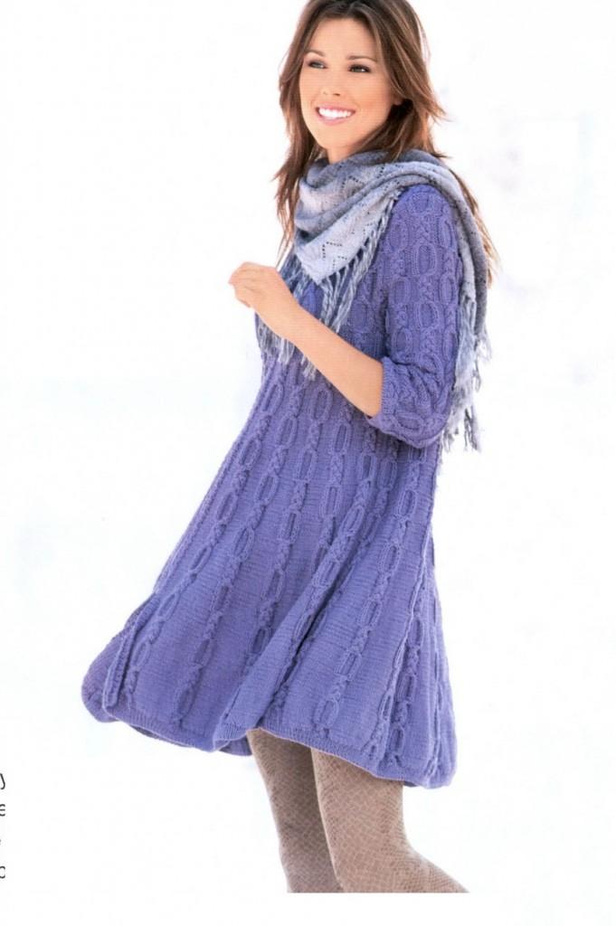 Вязание спицами платья зимнее