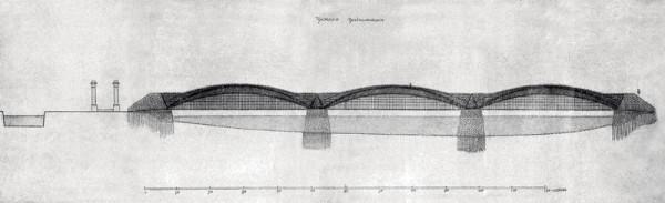 В 1810-х годах Кулибин занимался разработкой железных мостов. Перед нами проект трехарочного моста через Неву с подвесной проезжей частью (1814)
