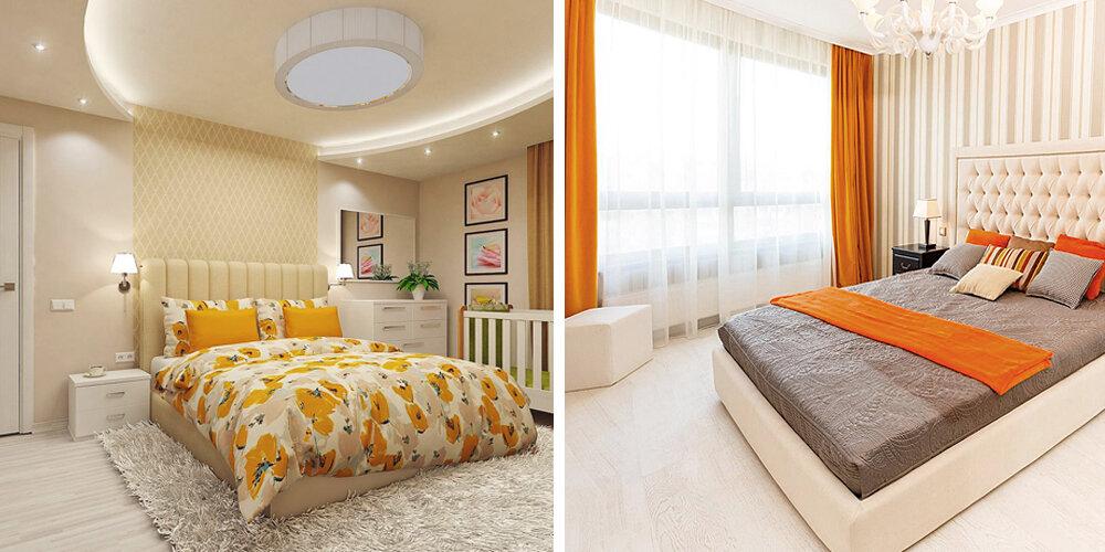 Интерьер бежевых спален с акцентами в теплых тонах.