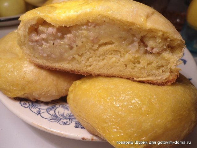 Пирожки с мясом и булочки из тыквичного теста