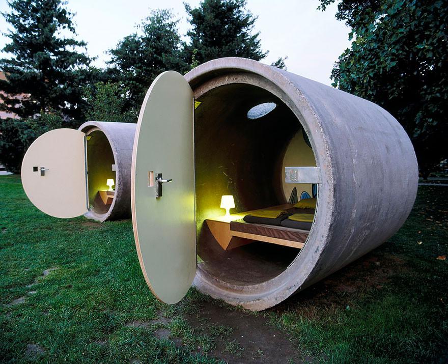16. Отель в канализационных трубах, Австрия вместительность, дом, размер