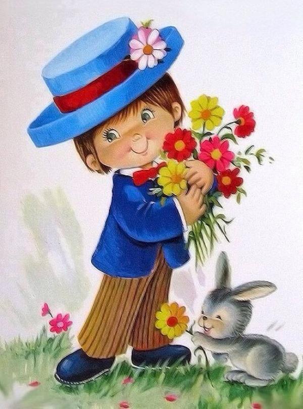 Девочка с цветами открытка 54