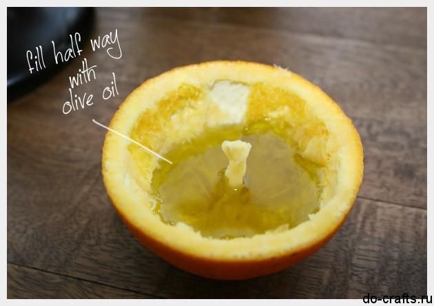 Свеча из апельсина своими руками