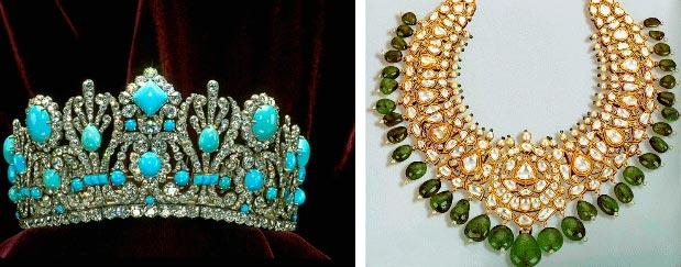 Диадема Марии-Луизы которая изначально была с изумрудами. Ожерелье 19 века принадлежавшее индийской принцессе (справа)