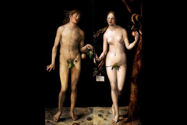 Самое первое немецкое живописное изображение голых людей. «Адам и Ева» Альбрехта Дюрера.