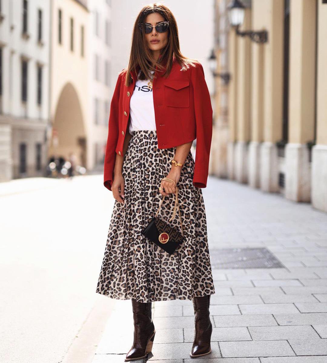 Леопардовая юбка. Примеры на модных блогерах
