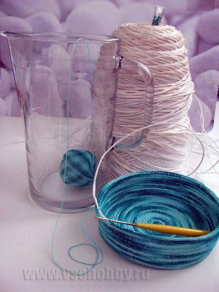 вязание корзинки с вкладыванием шнура