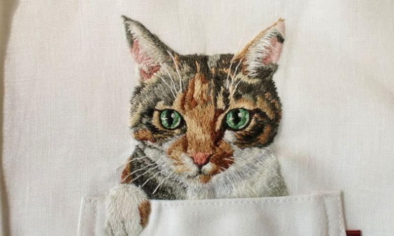 Схемы вышивки гладью котиков