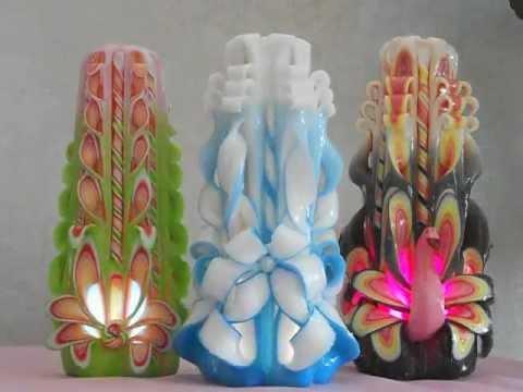 Резные свечи с диодной подсветкой и лепкой