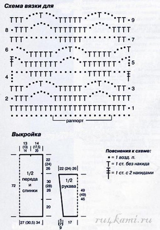 Простая туника для пляжа крючком схемы и описание