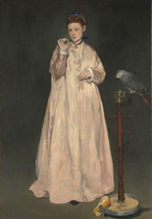Викторина-Луиза Мёран на картине Мане *Женщина с попугаем*