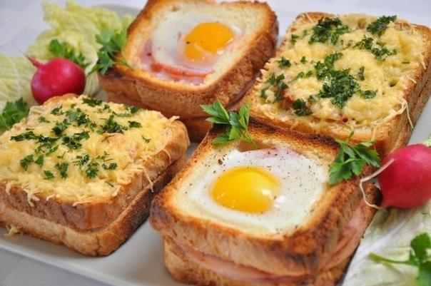Необычные и вкусные бутерброды к завтраку.