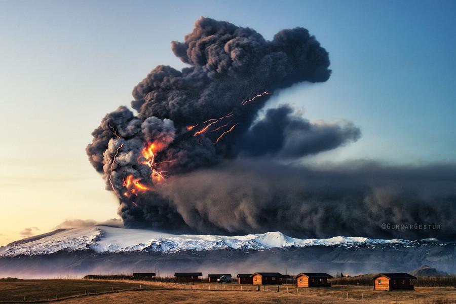 Эйяфьятлайокудль в 2010 году, Исландия вулкан, фото