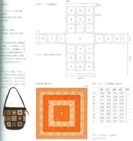 Очень много схем для вязания крючком: вместительная и удобная сумка из квадратных мотивов