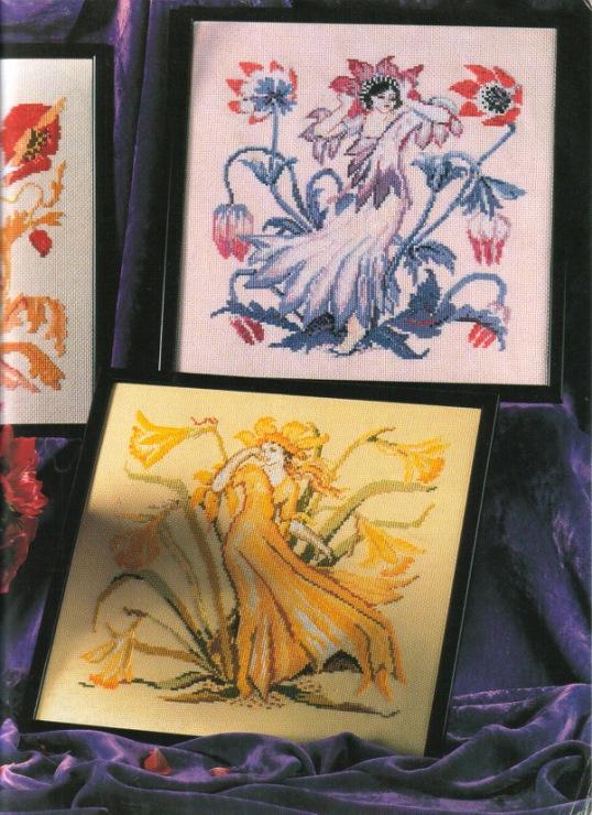 Вышивка «Цветочные леди» — триптих