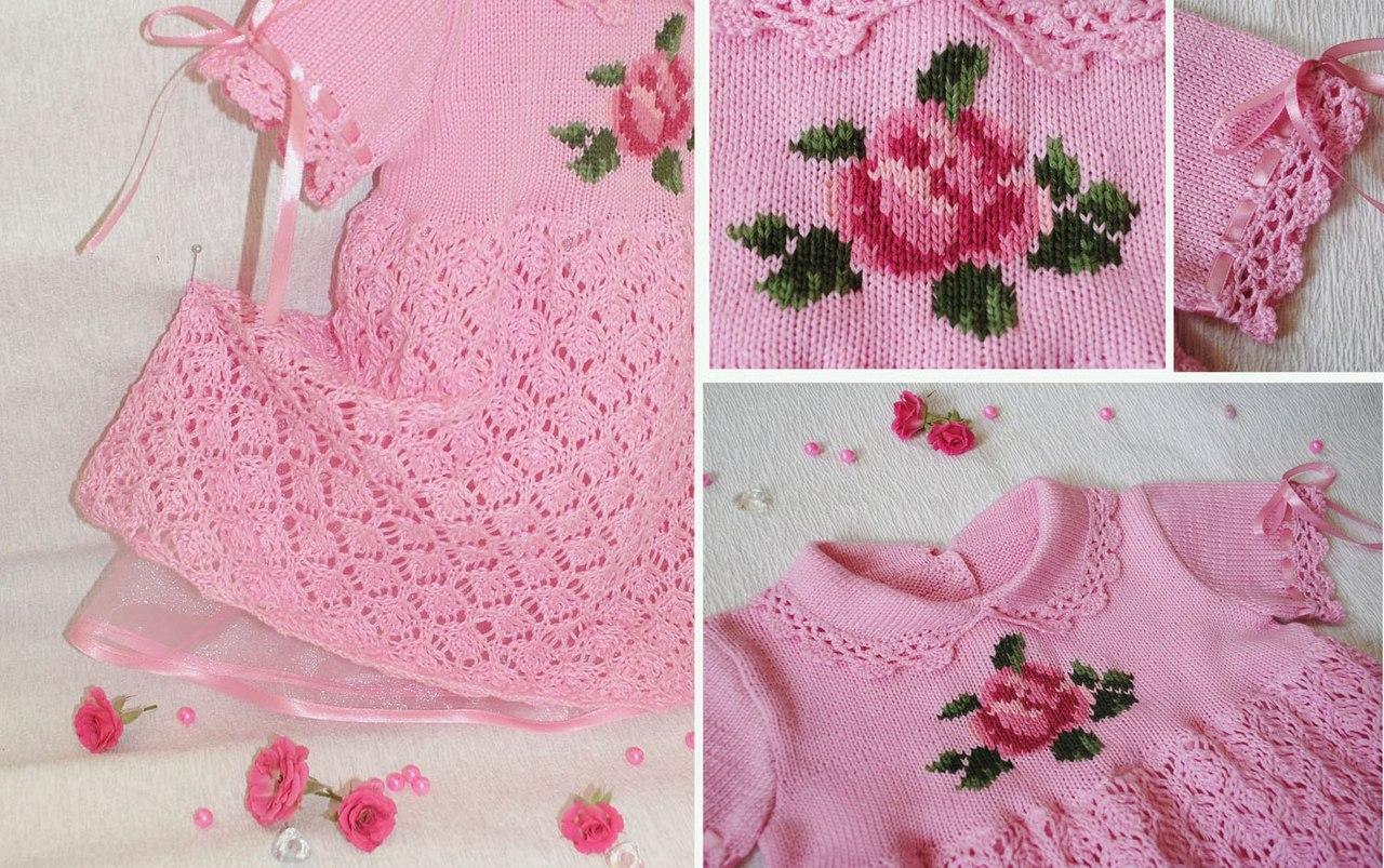 Как украсить вязаное платье для девочки своими руками 14