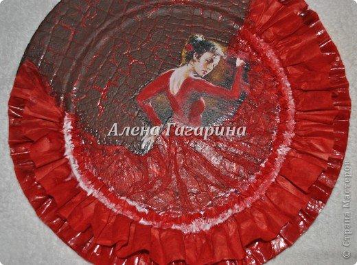 Декор предметов Мастер-класс Декупаж Тарелка Фламенко Бумага фото 22