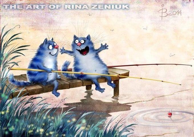 Синие коты рисунок