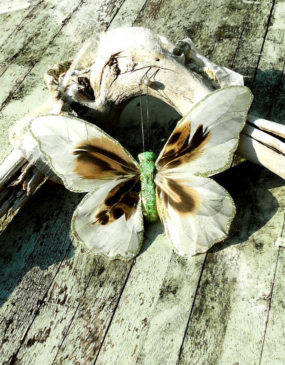 Лесные феи Биб ожерелье Pixie бабочки огромные заявление цыганского ожерелье ювелирных изделий лесной зеленый бежевый коричневый причудливый