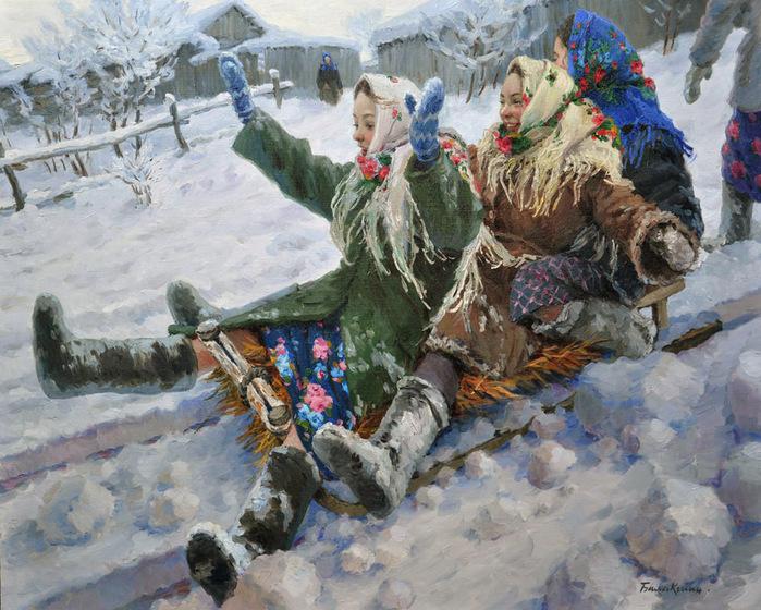 Русская зима художника Евгения Балакшина
