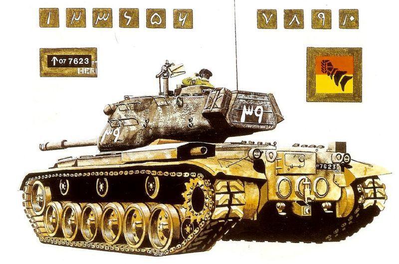 Танк М-47 «Паттон II» 1-й пакистанской бронетанковой дивизии, иллюстрация из «M47 and M48 Patton Tanks» (Osprey Publishing, 1999) - Индо-пакистанская война 1965 года: танковое сражение за Асал-Утар   Военно-исторический портал Warspot.ru