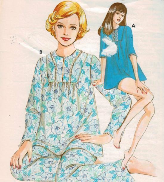 пижама-распашонка из сатина, журнальный рисунок из 50-х